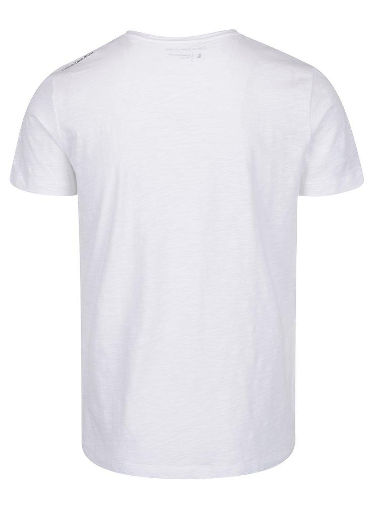 Bílé pánské triko s kapsou a potiskem Calvin Klein Jeans
