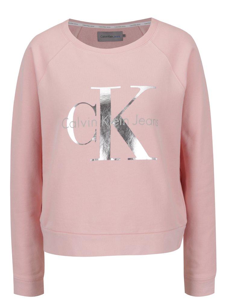 Růžová dámská mikina s potiskem ve stříbrné barvě Calvin Klein Jeans Hanna