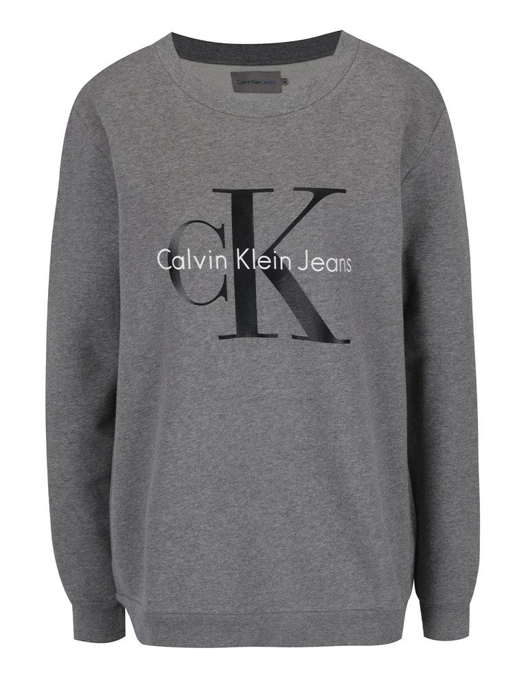 Šedá dámská mikina s potiskem v černé barvě Calvin Klein Jeans Crew