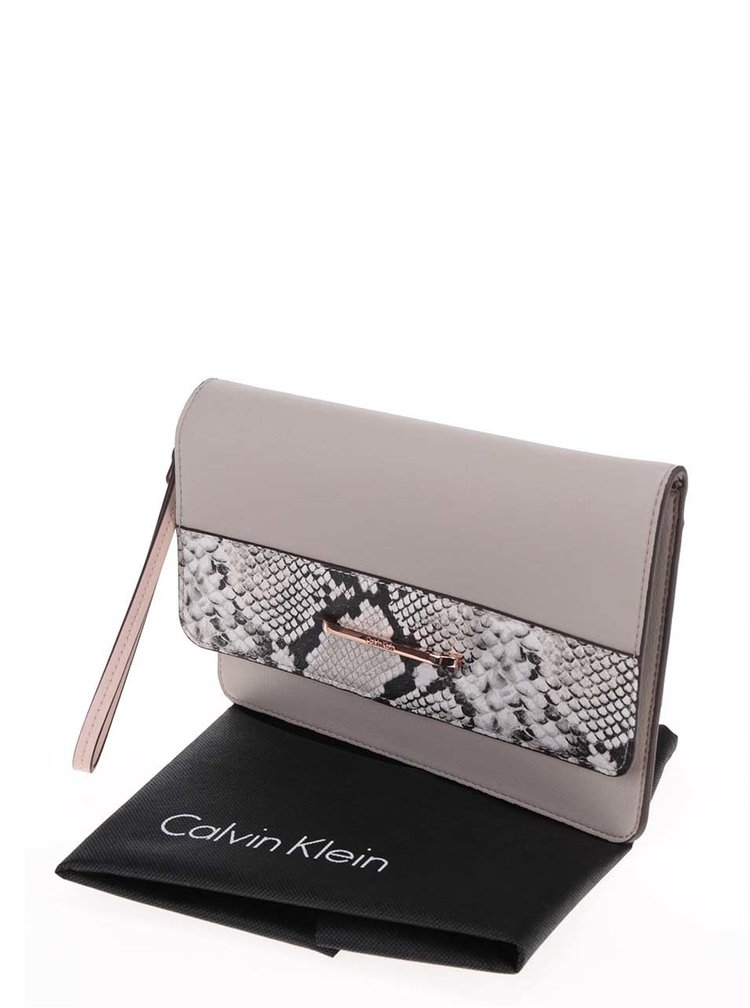 Béžové psaníčko s hadím vzorem Calvin Klein Jeans Heather