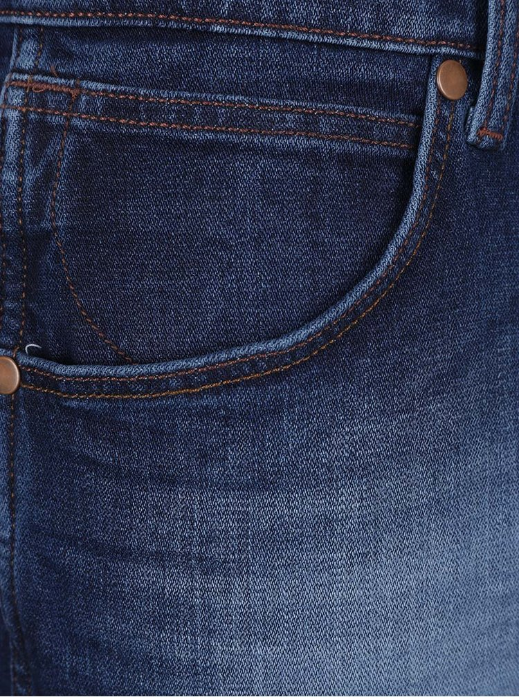 Blugi albastru inchis Wrangler Greensboro cu aspect prespalat
