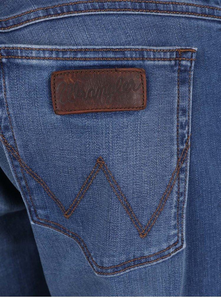 Modré pánské regular džíny s vyšisovaným efektem Wrangler Greensboro