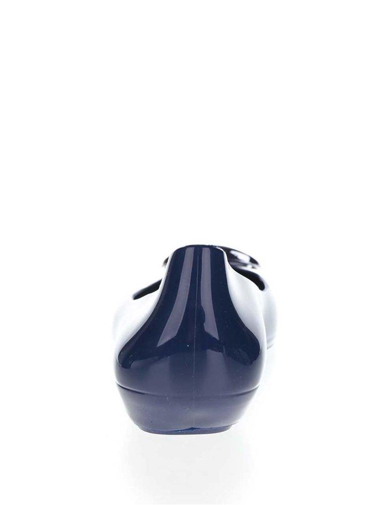 Tmavě modré lesklé baleríny se sponou ve stříbrné barvě Zaxy Pop Charm