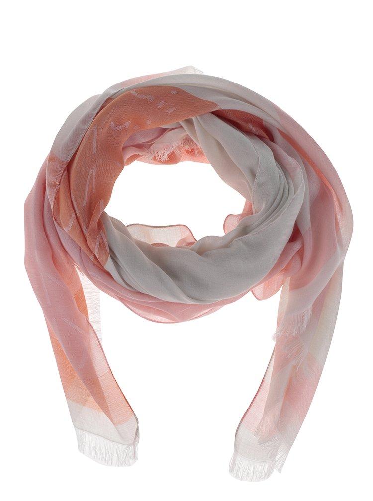Krémovo-růžový lehký dámský šátek Calvin Klein Jeans