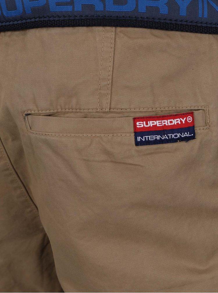 Béžové pánské kraťasy s páskem Superdry