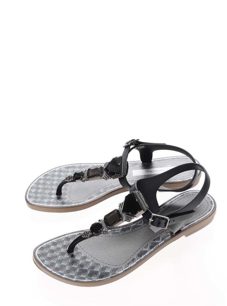 Černé sandály se zdobením Grendha Cartago