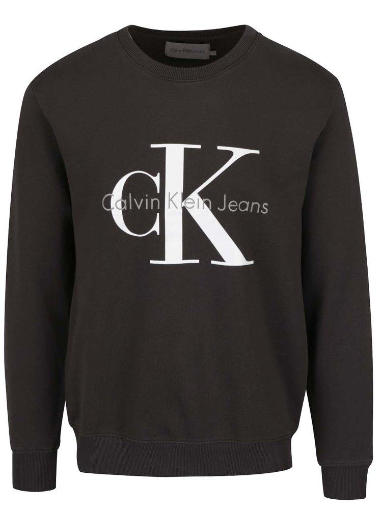 Tmavě šedá pánská mikina s potiskem Calvin Klein Jeans