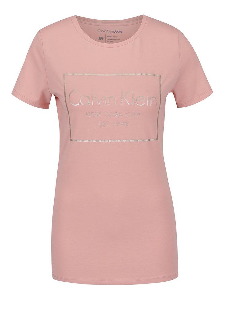 Světle růžové dámské tričko Calvin Klein Jeans Tanya
