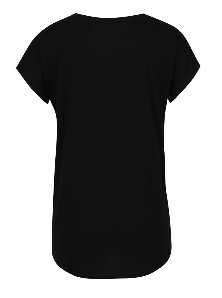Černé dámské tričko s potiskem ve zlaté barvě Calvin Klein Jeans Teri