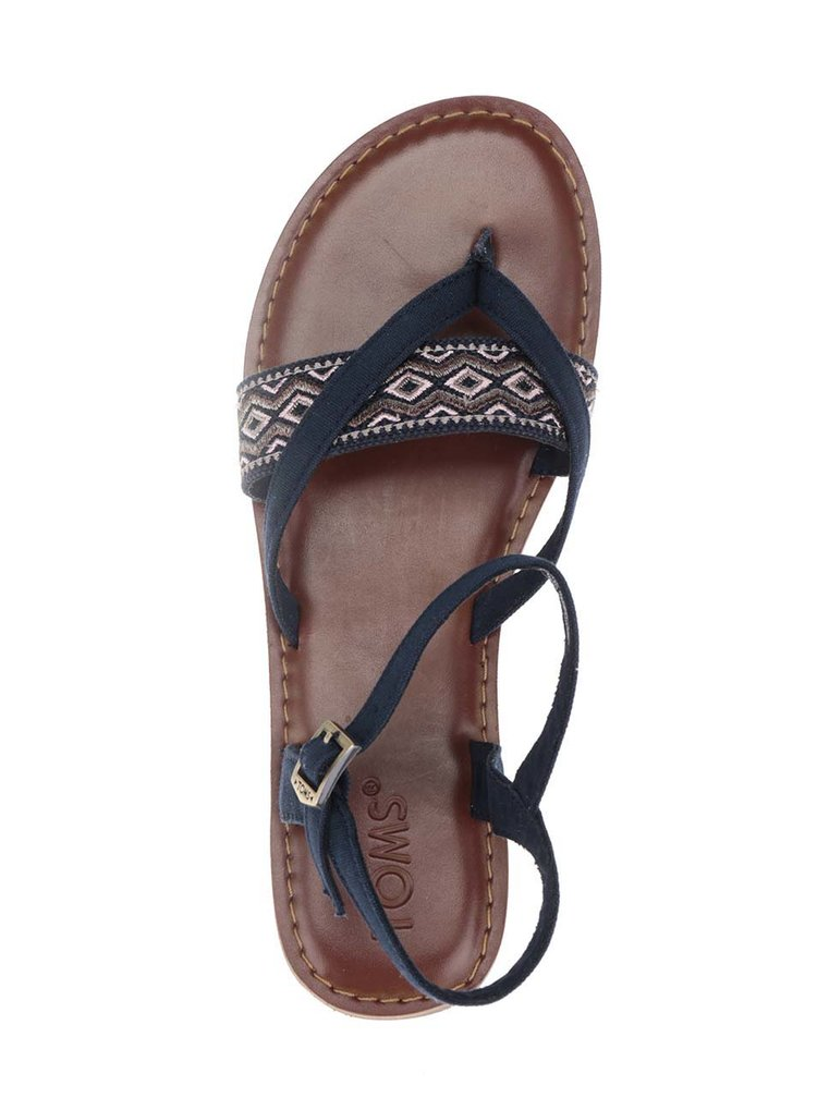 Tmavě modré dámské sandály se vzorovaným páskem TOMS