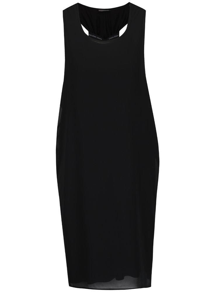 Černé šaty se staženými zády Calvin Klein Jeans Daria