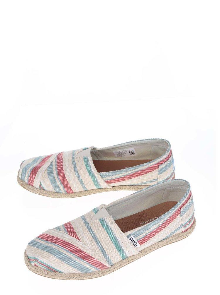 Červeno-krémové dámské pruhované loafers TOMS