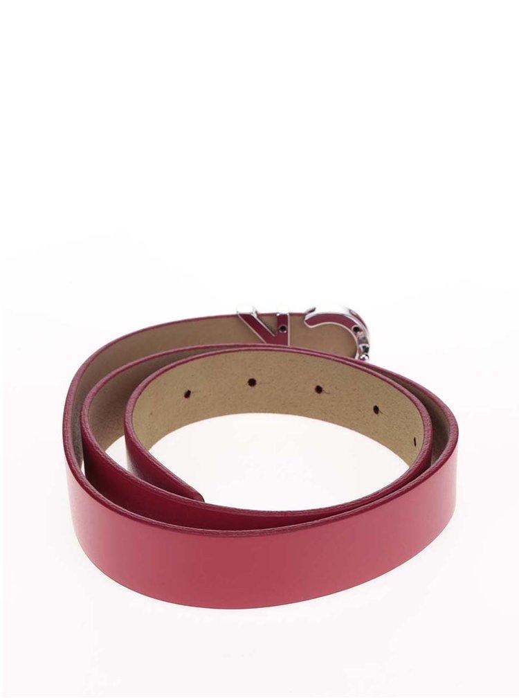 Červený dámský kožený pásek s logem Calvin Klein Jeans