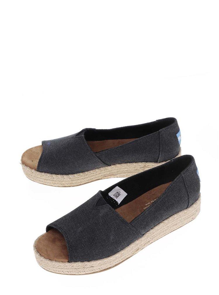 Tmavě šedé dámské loafers s otevřenou špičkou TOMS