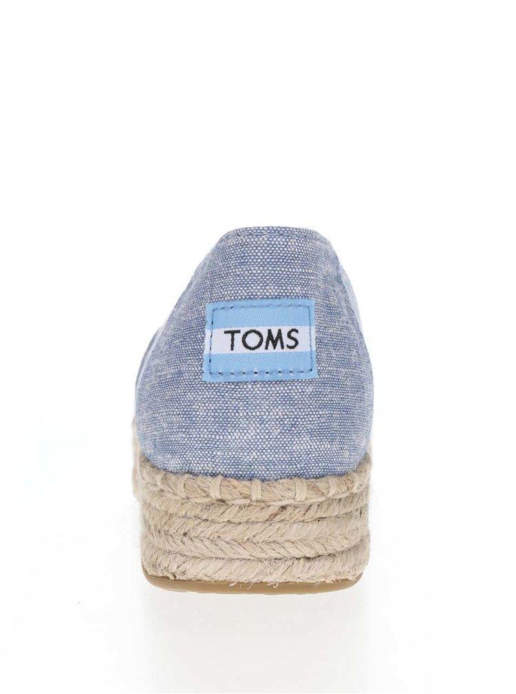 Modré dámské espadrilky s otevřenou špičkou TOMS