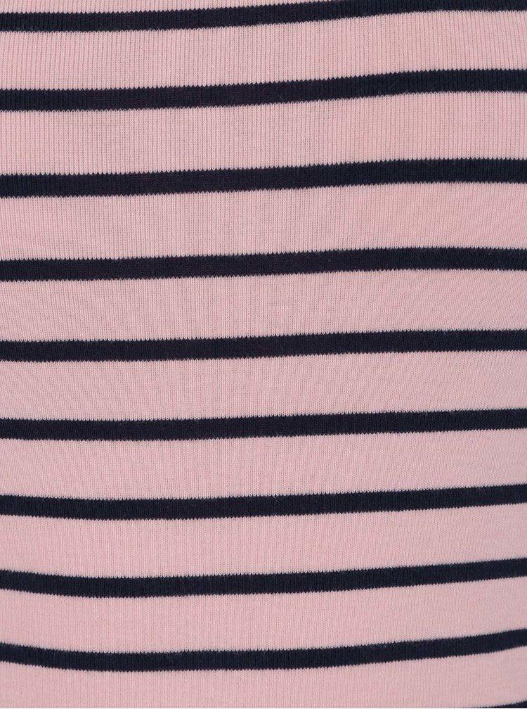 Bluza roz M&Co din bumbac cu model in dungi si maneci medii