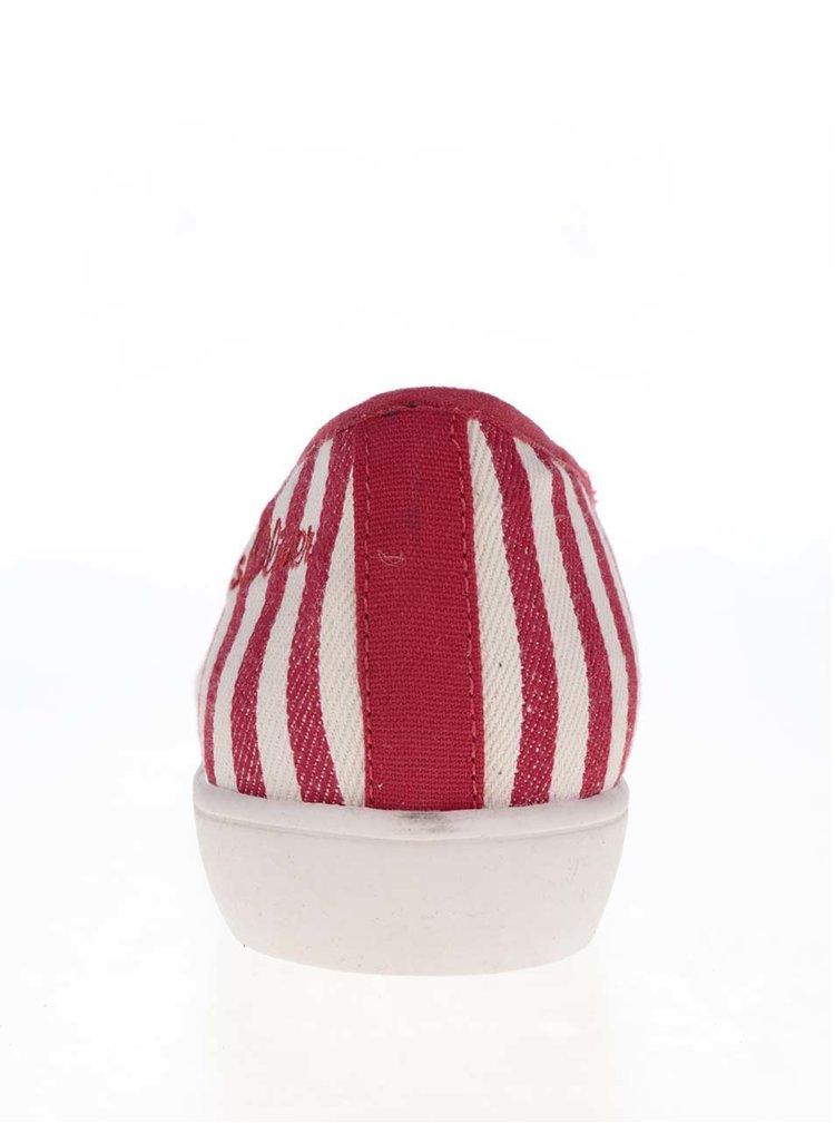 Béžovo-červené pruhované baleríny s lesklou špičkou s.Oliver