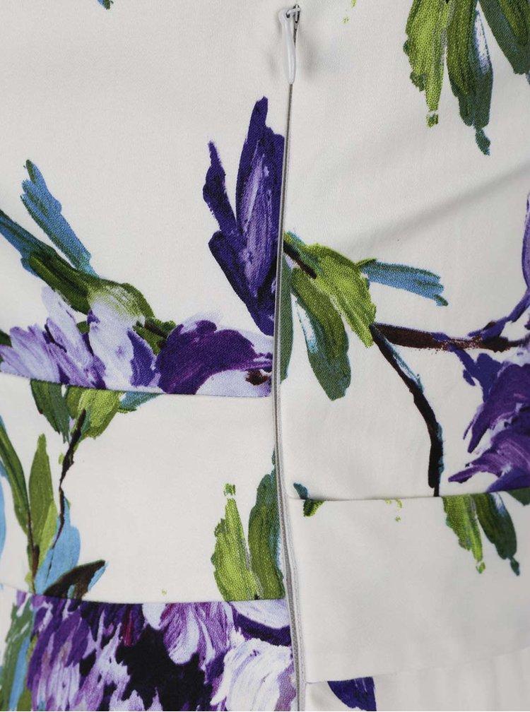 Fialovo-krémové kvetované šaty so zaväzovaním v páse M&Co
