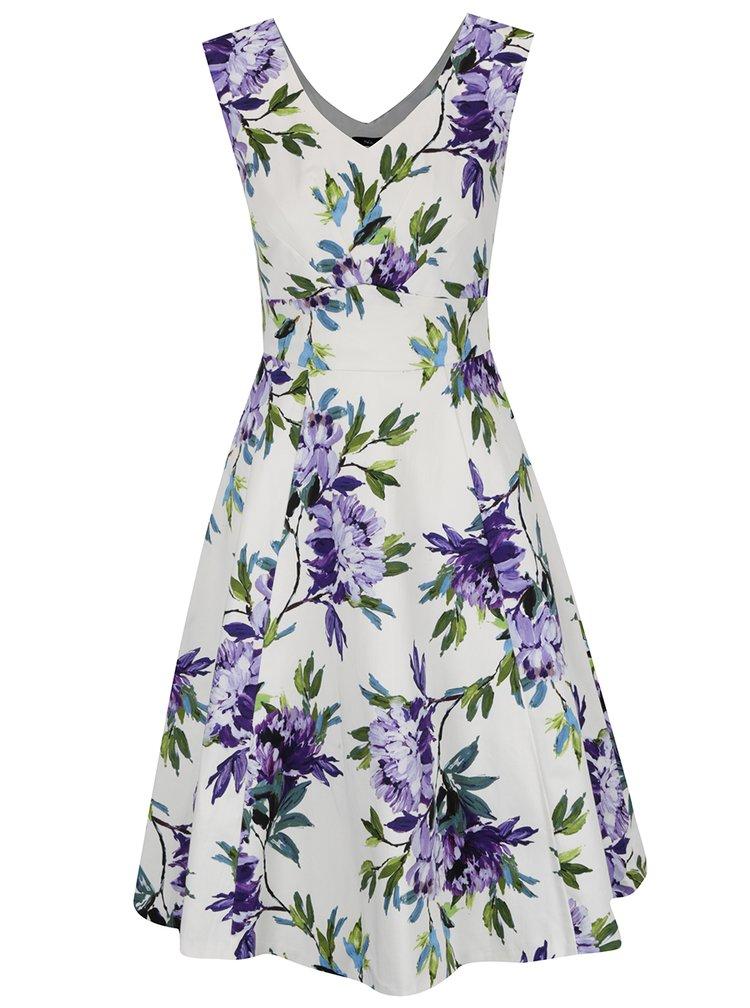 Fialovo-krémové květované šaty se zavazováním v pase M&Co