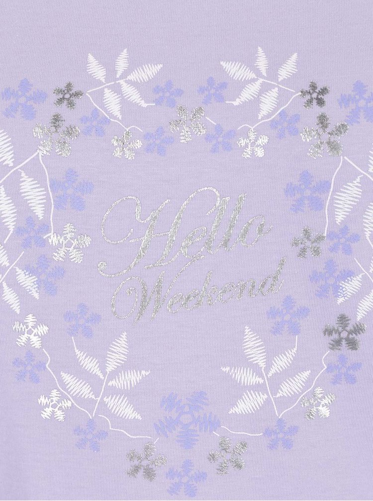 Pijama violet deschis M&Co din bumbac cu print și model