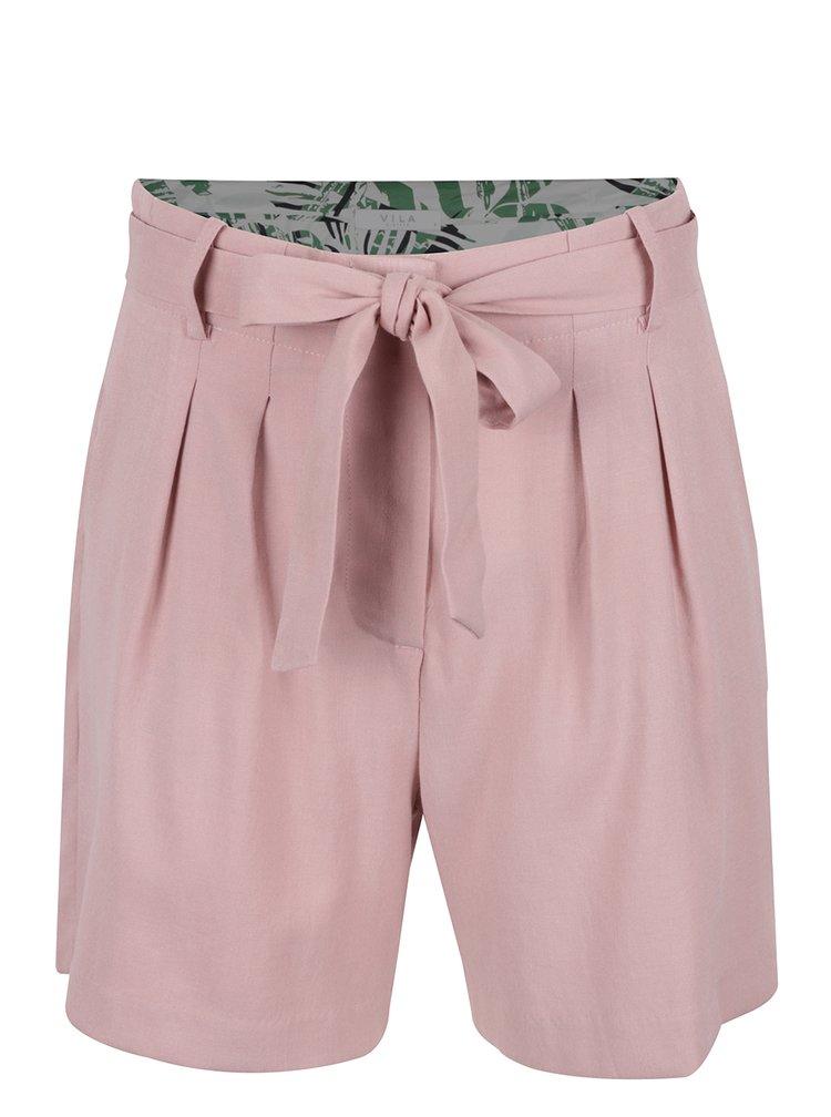 Pantaloni scurți roz prăfuit VILA Mela cu cordon în talie