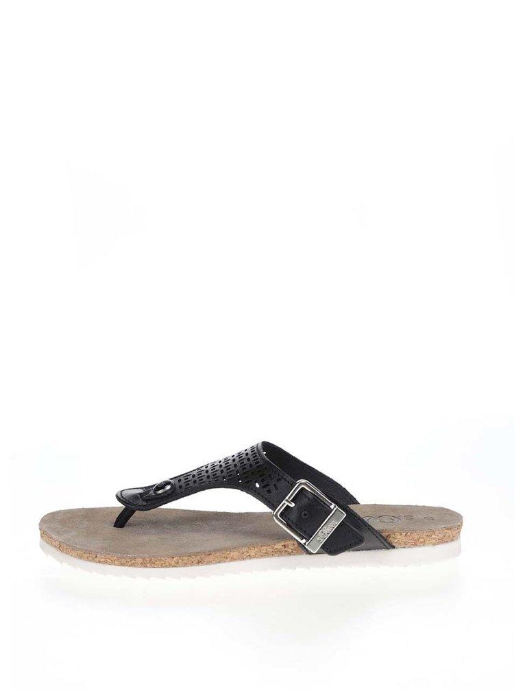 Dámské kožené žabky v černé barvě s.Oliver