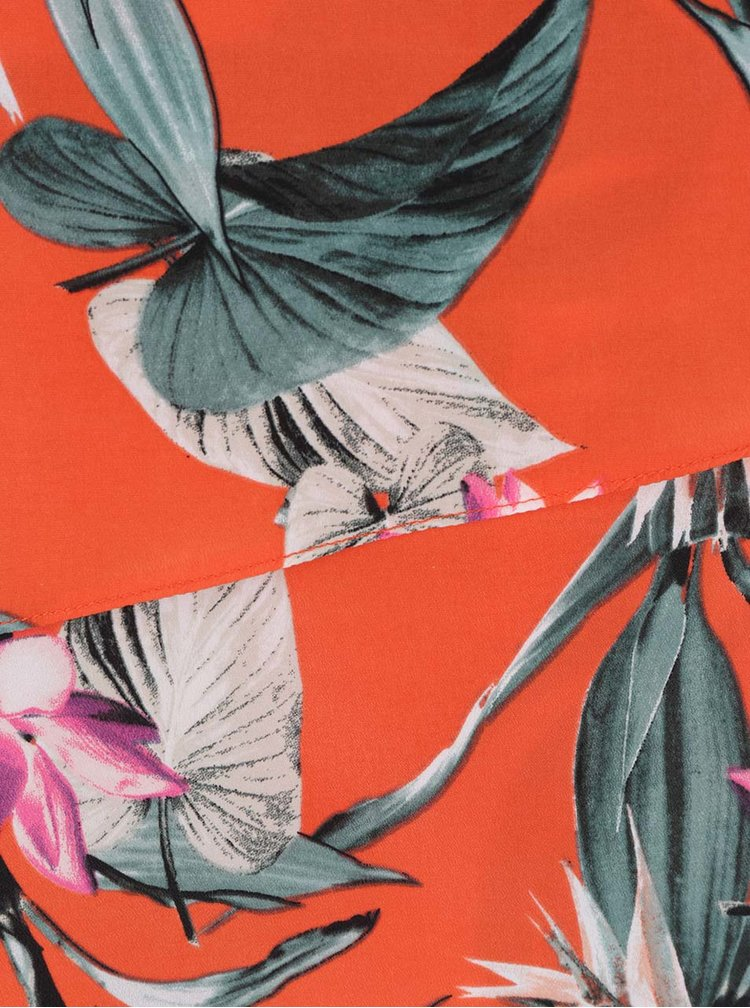 Červené květované šaty s překládáním na předním díle M&Co