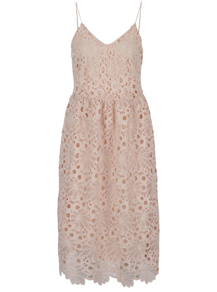 Růžové krajkové šaty na tenká ramínka VILA Dalton