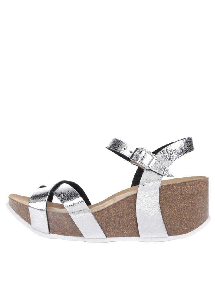 Sandale argintii OJJU cu platformă
