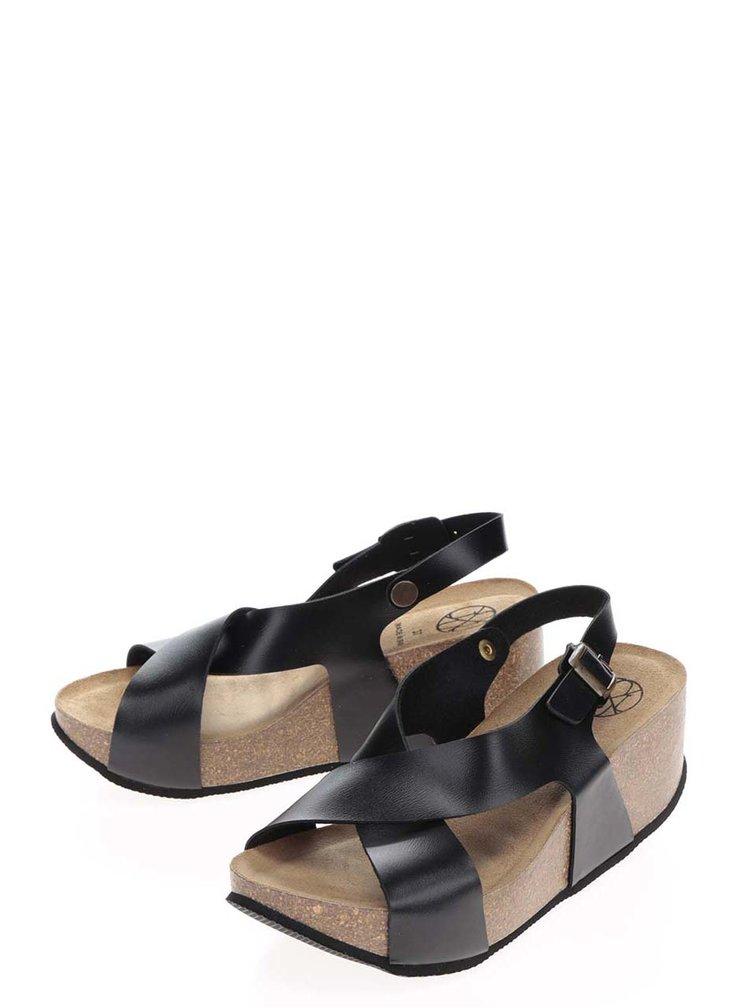 Sandale negre cu platformă din plută OJJU