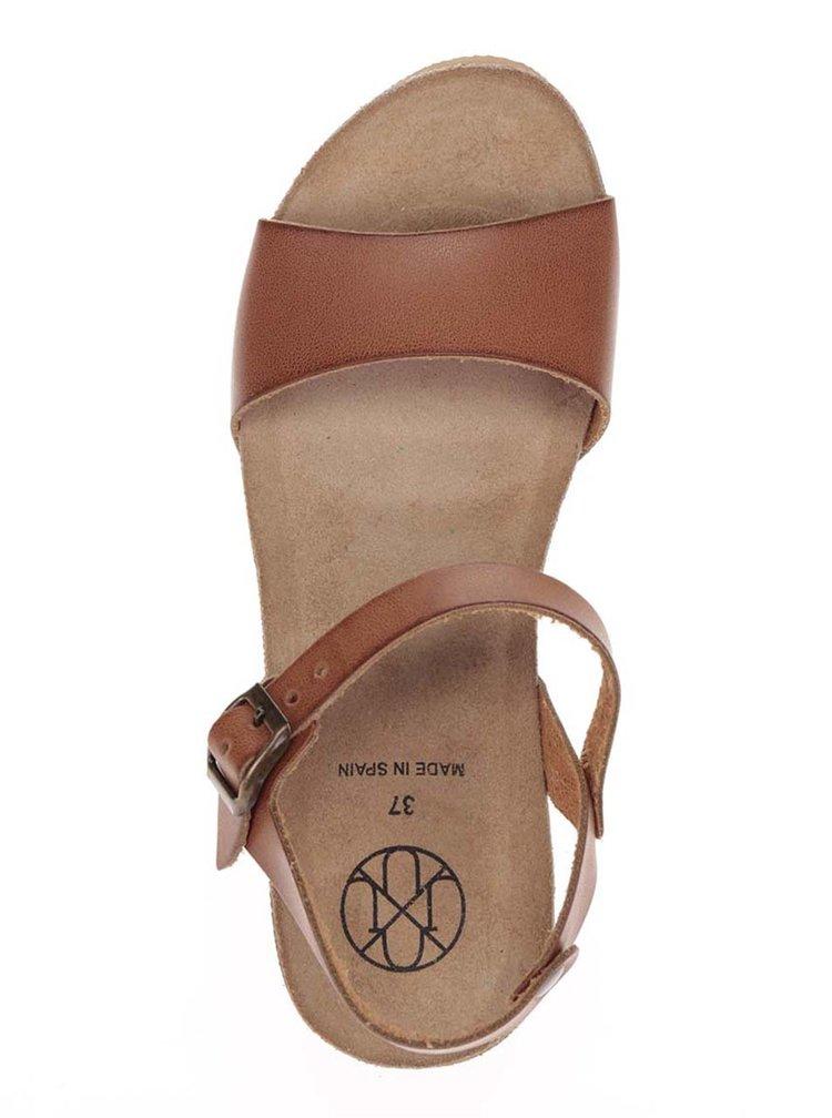 Hnědé dámské sandály s kovovým detailem OJJU