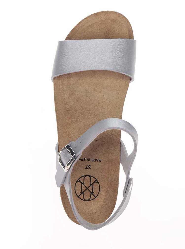 Sandale argintii OJJU cu talpa inalta