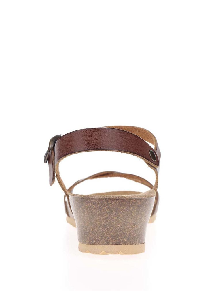 Hnědé dámské sandály na klínku OJJU
