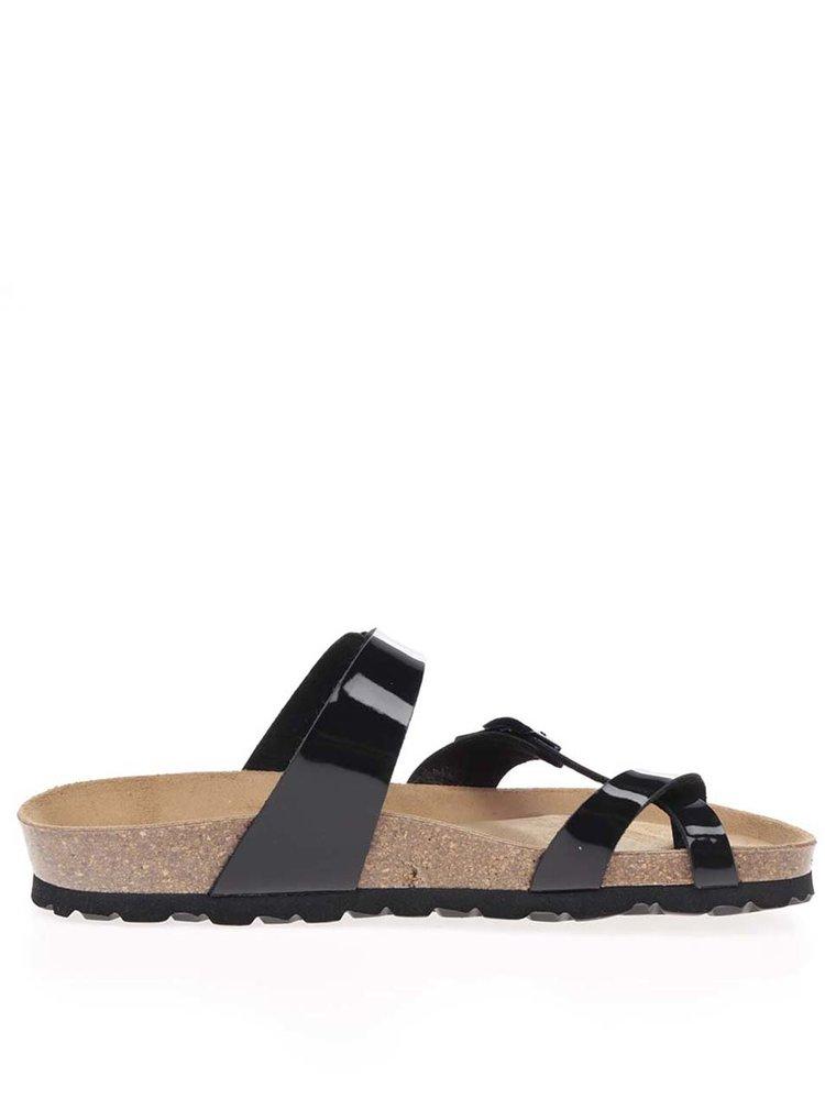 Černé dámské  lesklé sandály s přezkami OJJU