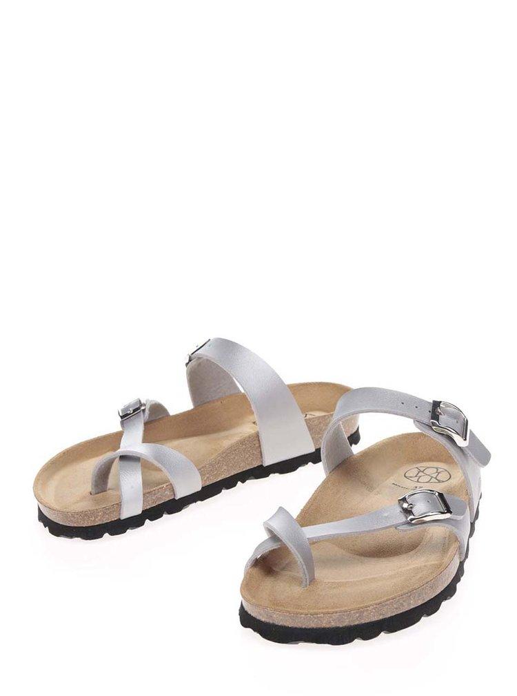 Papuci argintii OJJU cu barete încrucișate