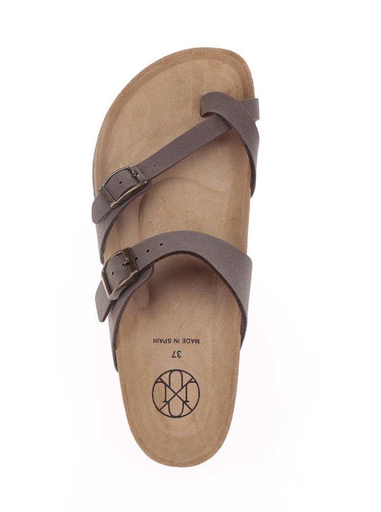 Hnědé dámské sandály s přezkami OJJU