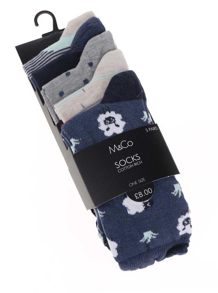 0a97c474dce0d Súprava piatich párov dámskych ponožiek v modrej, sivej a béžovej farbe M&Co