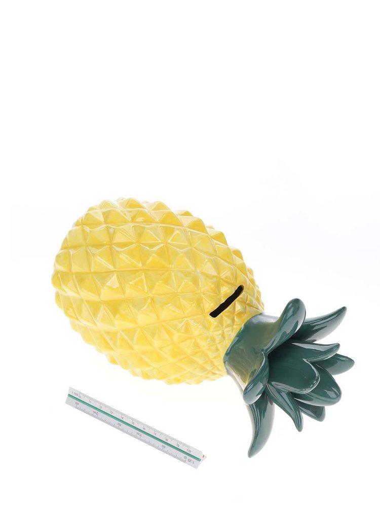 Zeleno-žlutá kasička ve tvaru ananasu Sass & Belle
