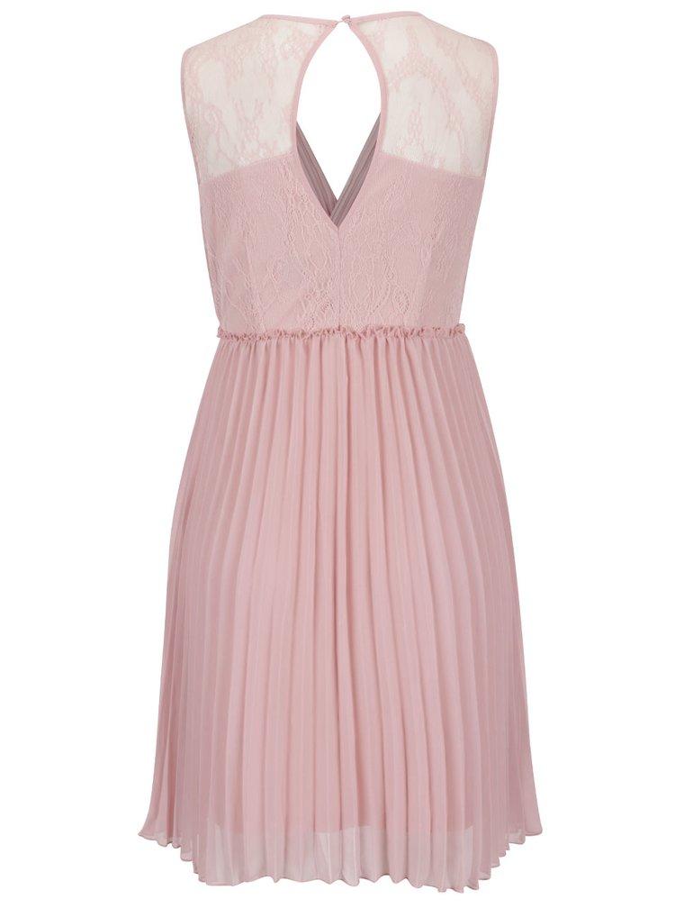 Růžové plisované šaty s krajkou na zádech VILA Ines