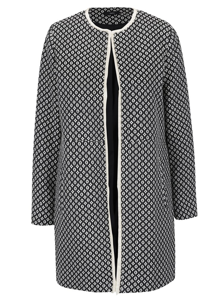 Jacheta lunga crem & negru M&Co cu model