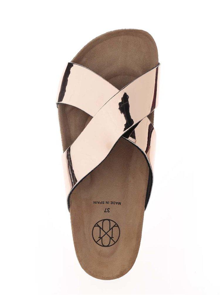 Růžové dámské metalické pantofle OJJU