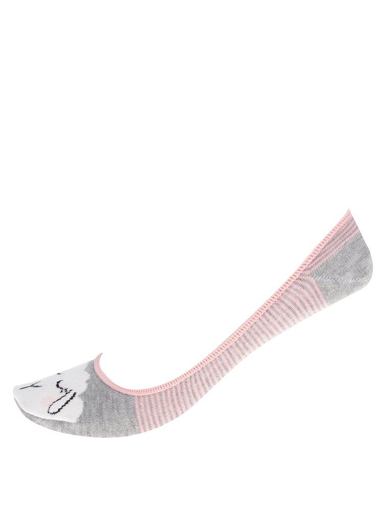 Sada tří párů dámských sneaker vzorovaých ponožek v krémové a šedé barvě M&Co