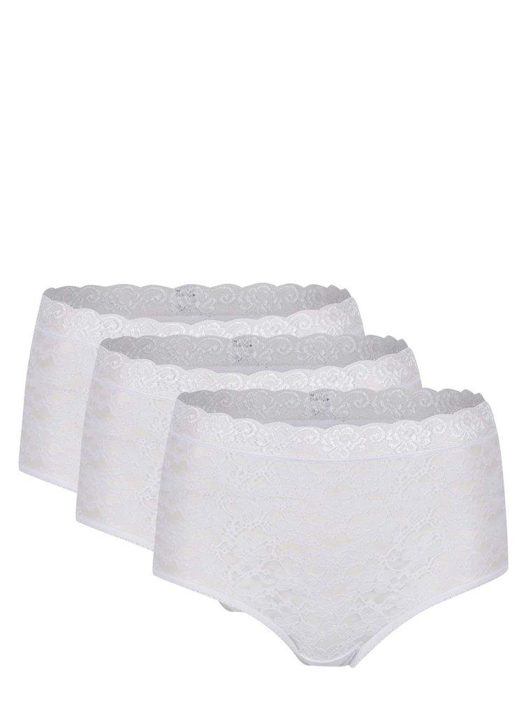 Set de 3 chiloți albi M&Co din dantelă cu talie înaltă