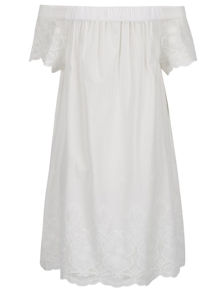 Krémové šaty s odhalenými rameny a madeirou VILA Girly