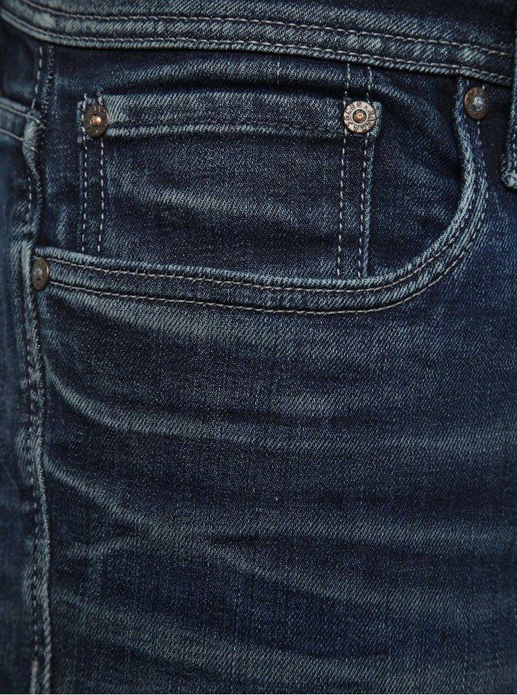 Modré slim džíny s vyšisovaným efektem Jack & Jones Tim