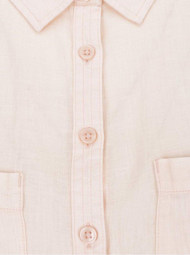 Světle růžová lněná košile M&Co