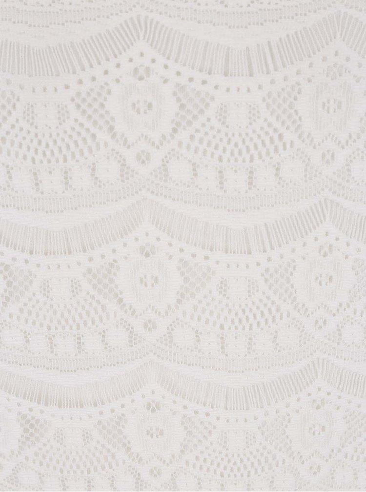 Krémový krajkový top s odhalenými rameny VILA Monie