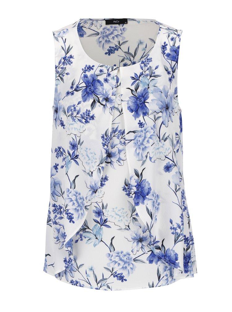 Modro-krémová květovaná halenka s volány M&Co