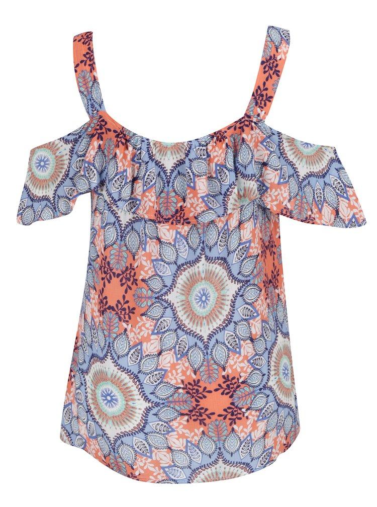 Oranžovo-modrý top s průstřihy na ramenou a volány M&Co