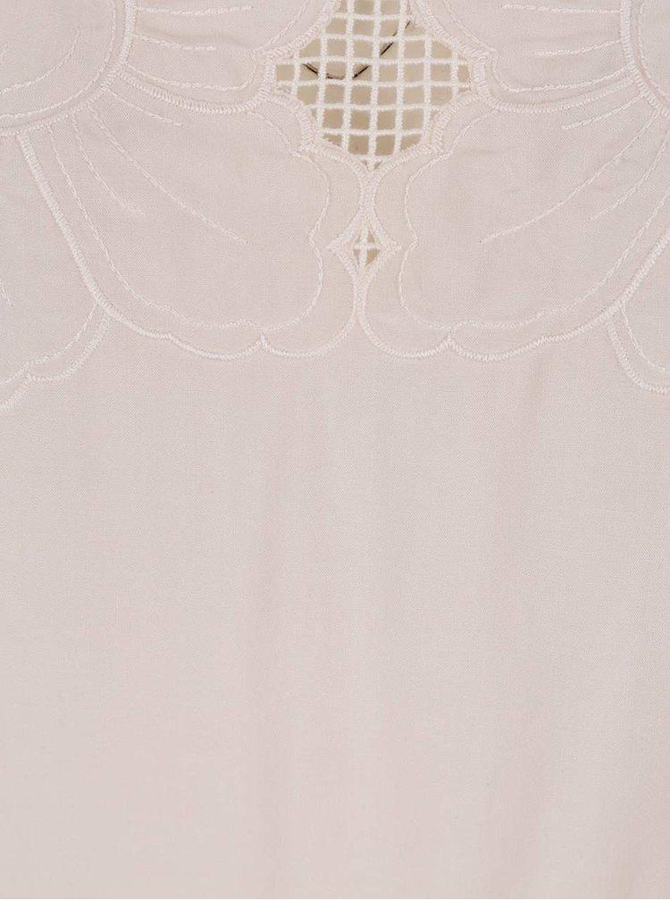 Tricou roz pudrat VILA Pal cu broderie florală discretă